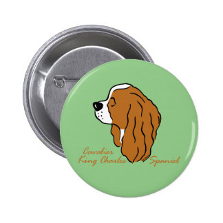 Cavalier King Charles Spaniel head silhouette 2 Inch Round Button