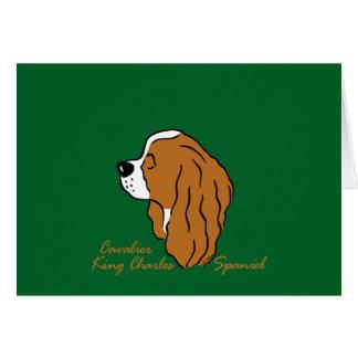Cavalier King Charles Spaniel head silhouette Card