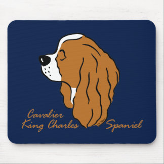 Cavalier King Charles Spaniel head silhouette Mouse Pad