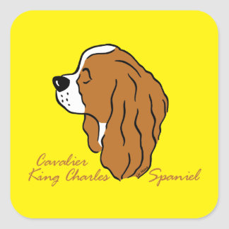Cavalier King Charles Spaniel head silhouette Square Sticker