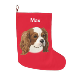 Cavalier King Charles Spaniel in Portrait Large Christmas Stocking