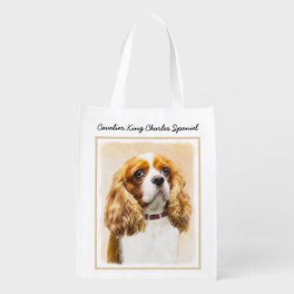 Cavalier King Charles Spaniel Original Painting Reusable Grocery Bag