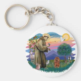 Cavalier King Charles Spaniel (ruby) Basic Round Button Keychain