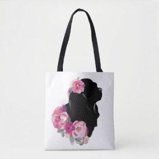 Cavalier king charles spaniel silhouette tote bag