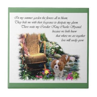 Cavalier King Charles Spaniel Summer Garden Tile
