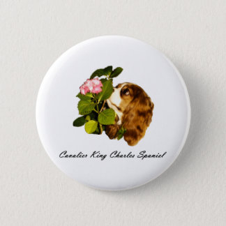 Cavalier King Charles Spaniel With Flower 2 Inch Round Button