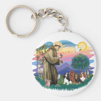 Cavalier King Charles Spaniels (four) Basic Round Button Keychain