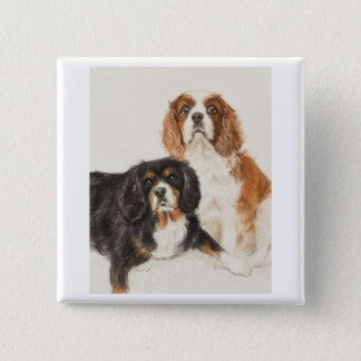 Cavalier King Charles Spaniels painting 2 Inch Square Button