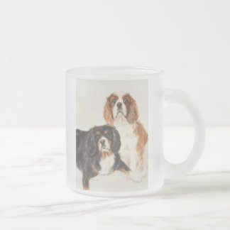 Cavalier King Charles Spaniels painting Frosted Glass Coffee Mug