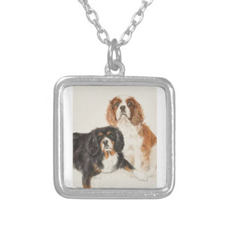 Cavalier King Charles Spaniels painting Silver Plated Necklace