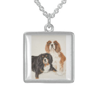 Cavalier King Charles Spaniels painting Sterling Silver Necklace