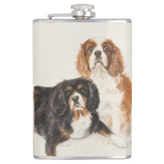 Cavalier King Charles Spaniels painting two Hip Flask