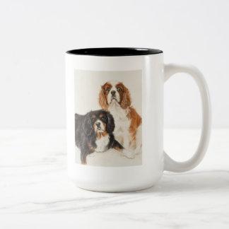 Cavalier King Charles Spaniels painting Two-Tone Coffee Mug