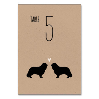 Cavalier King Charles Spaniels Wedding Table Card