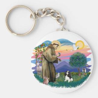 Cavalier King Charles (tri colir) Basic Round Button Keychain