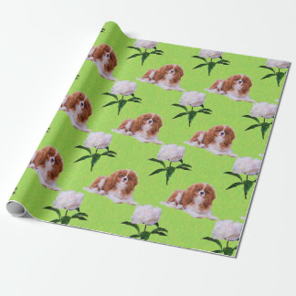 Cavalier King Charles & White Peony Wrapping Paper