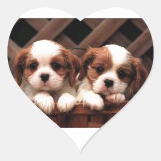 Cavalier Puppies Heart Sticker
