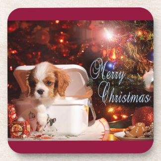 Cavalier puppy Christmas Card Coaster