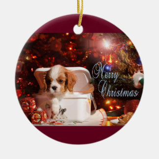 Cavalier puppy Christmas Card Round Ceramic Ornament