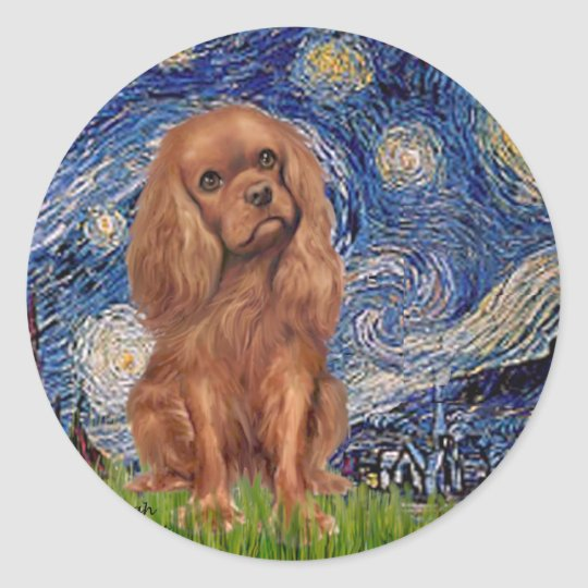 Cavalier (Ruby7) - Starry Night Classic Round Sticker