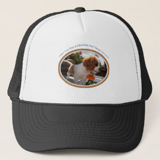Cavalier Smelling Flowers Trucker Hat