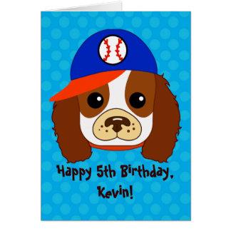 Cavalier Spaniel with baseball cap Card