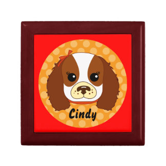 Cavalier Spaniel with bow Gift Box