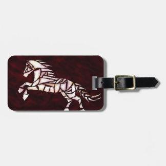 Cavallerone - white horse luggage tag