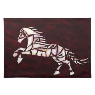 Cavallerone - white horse placemat