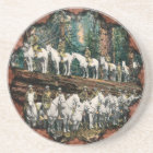 Cavalry Troop on Redwood Tree Vintage Coaster