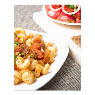 Cavatappi Pasta with sauce of stewed vegetables Letterhead