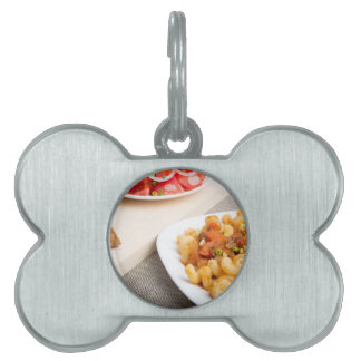 Cavatappi Pasta with sauce of stewed vegetables Pet Name Tag