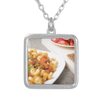 Cavatappi Pasta with sauce of stewed vegetables Silver Plated Necklace