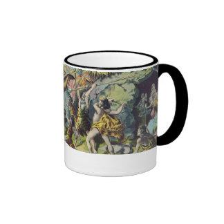Cave Men Antique Print Ringer Coffee Mug