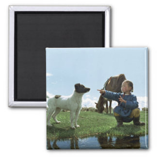 Cave of the yellow dog square magnet