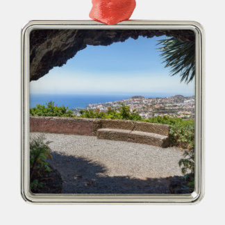 Cave outlook on sea and village on Madeira Metal Ornament