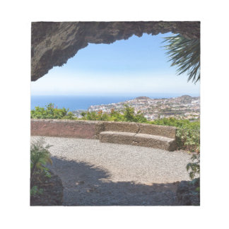 Cave outlook on sea and village on Madeira Notepad