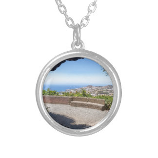 Cave outlook on sea and village on Madeira Silver Plated Necklace