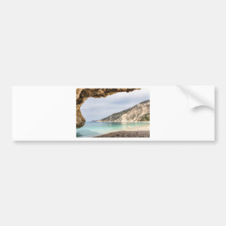Cave outlook on sea mountain and beach bumper sticker