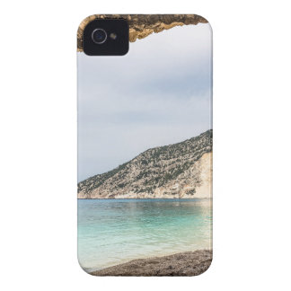 Cave outlook on sea mountain and beach iPhone 4 case