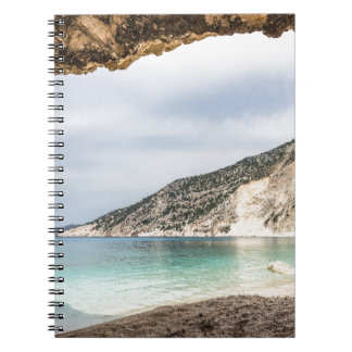 Cave outlook on sea mountain and beach notebook