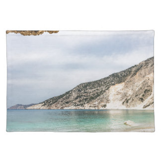 Cave outlook on sea mountain and beach placemat