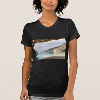 Cave outlook on sea mountain and beach T-Shirt