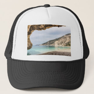Cave outlook on sea mountain and beach trucker hat