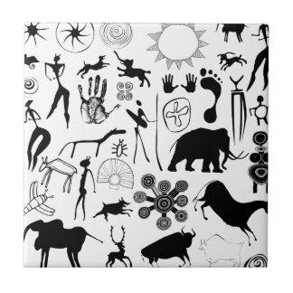 cave paintings - primitive art ceramic tiles