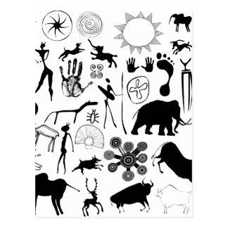 cave paintings - primitive art postcard