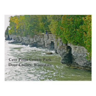 """""""CAVE POINT COUNTY PARK """"/ BEAUTIFUL DOOR COUNTY POSTCARD"""