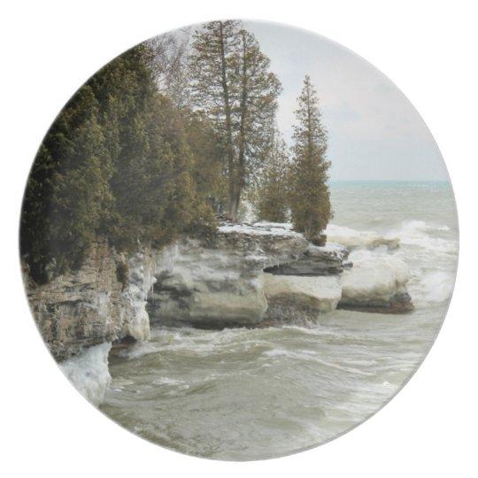 Cave Point in Winter - Door County Plate