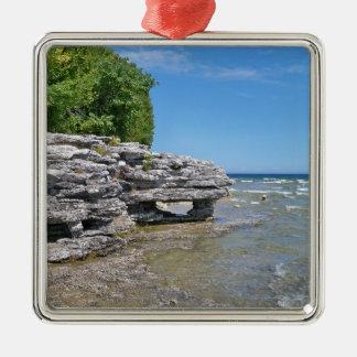 Cave Point Park Shoreline Metal Ornament