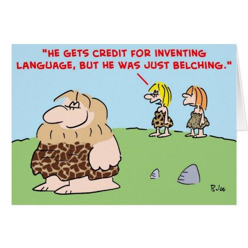 caveman belching language greeting cards